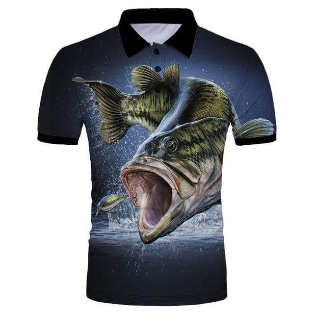 Guts Fishing Apparel  Fishing Shirt 5XL Largemouth Bass Polo Shirt