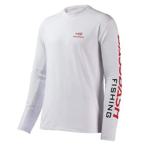 Men's Bassdash long sleeve fishing t-shirt. UPF 50+ fabric with breathable mesh on the lower back and under the arms. White shirt with red and black logo.