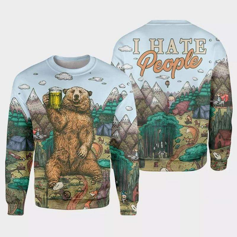 Guts Fishing Apparel  Fishing Shirt Camping Bear I Hate People