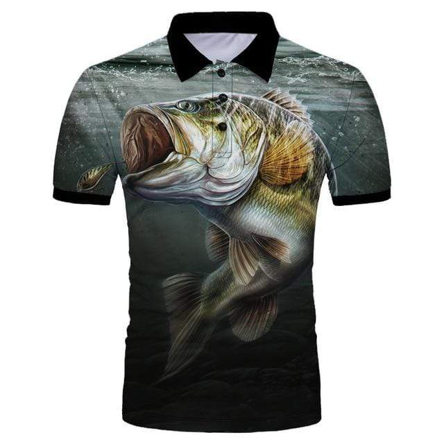 Guts Fishing Apparel  Fishing Shirt M Big Bite Polo Shirt
