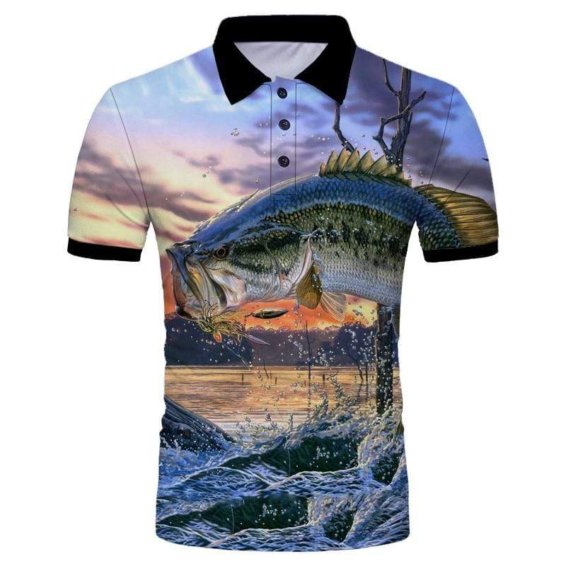 Guts Fishing Apparel  Fishing Shirt XXXL Jumping Bass Polo Shirt