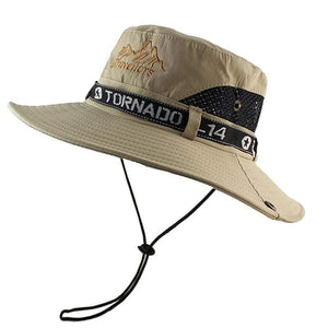 Khaki bucket hat with mesh sides and chin cord.
