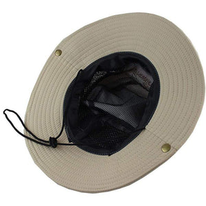 Ventilated khaki fishing hat.