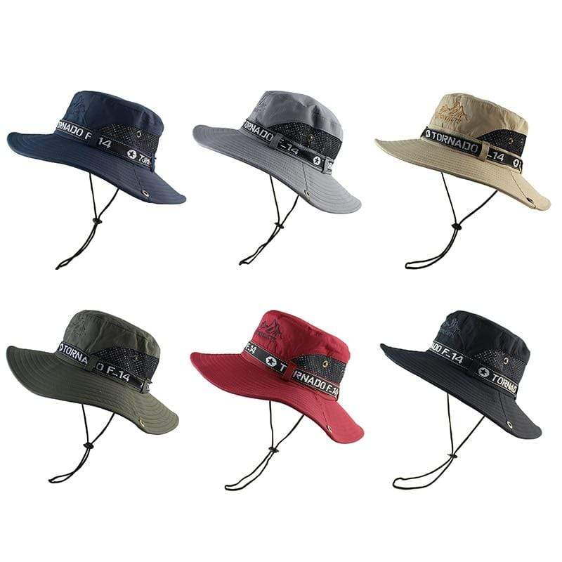 The Travellers Tornado bucket hat is available in khaki, navy, black grey and army green.