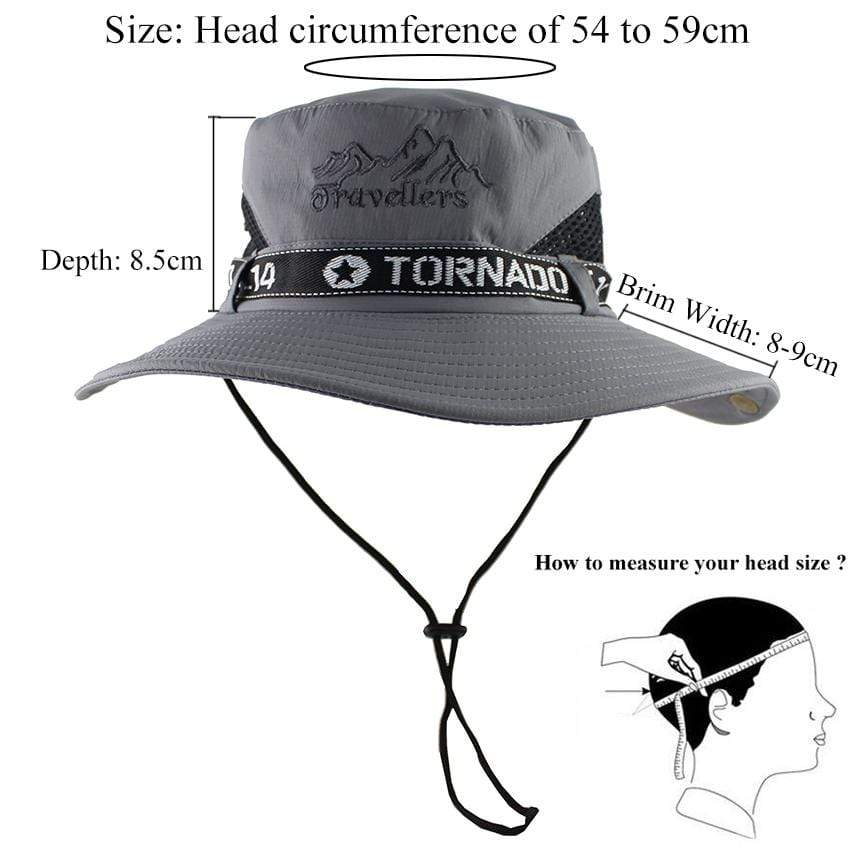 The Travellers Tornado hat is unisex and fits head size 54-59 cm.
