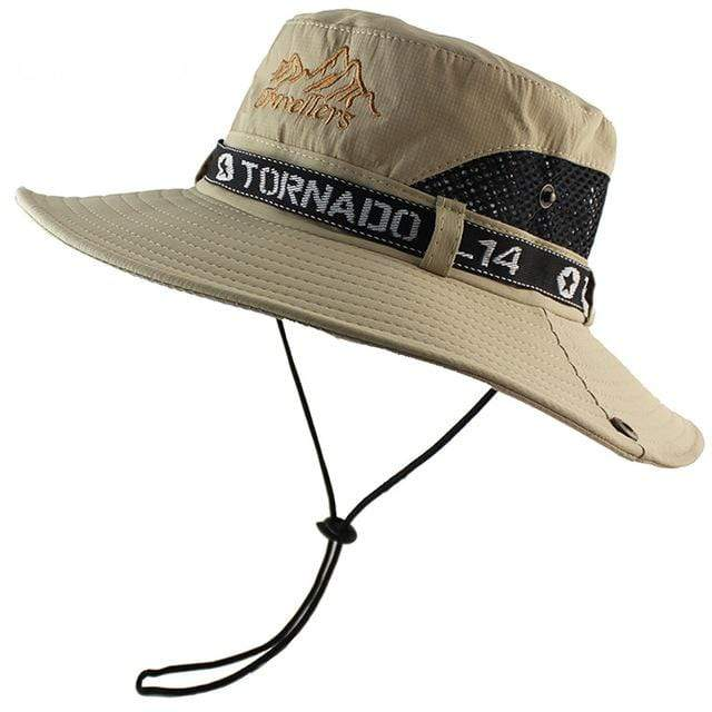 Ventilated khaki bucket hat with button up brim sides.