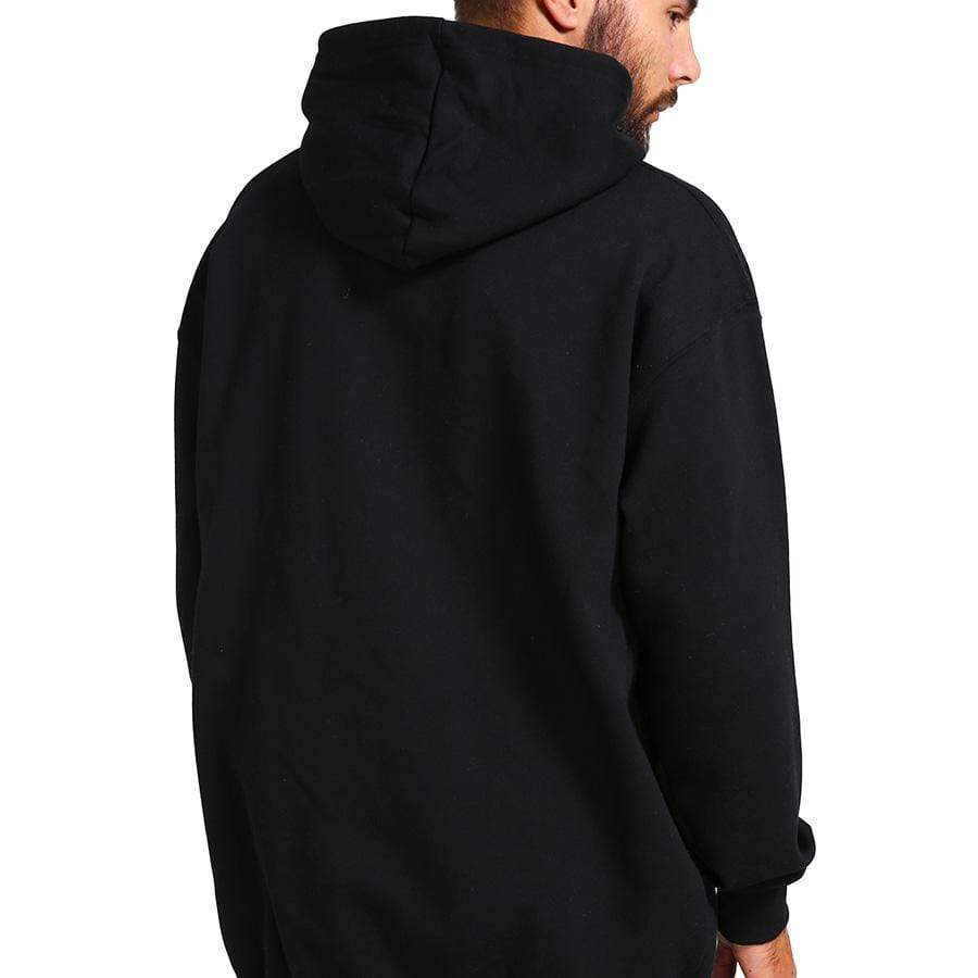Man wearing black hoodie with his back turned.