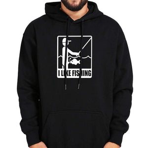Black fishing sweatshirt with hood. White images of a man fishing being sucked off by fish.