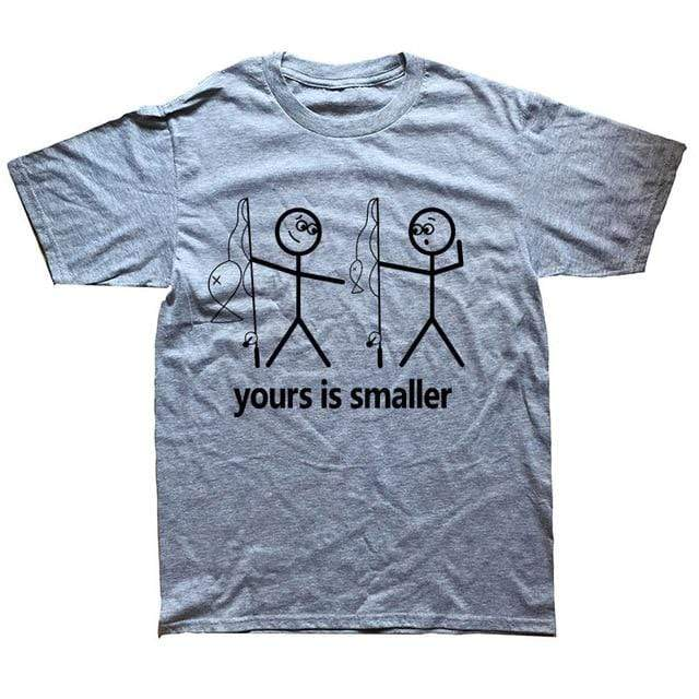 Men's funny fishing t-shirt saying yours is smaller. grey t-shirt with two black stick men holding fishing rods. One is pointing down at the other saying yours is smaller in terms of the fish or other parts of the body.