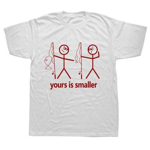 Funny fishing t-shirt saying yours is smaller. White t-shirt with two red stick men holding fishing rods. One is pointing down at the other saying yours is smaller in terms of the fish or other parts of the body.