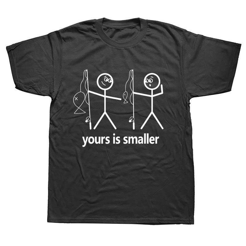Men's size funny fishing t-shirt saying yours is smaller. Black t-shirt with two white stick men holding fishing rods. One is pointing down at the other saying yours is smaller in terms of the fish or other parts of the body.