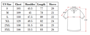 Hawaiian shirt size guide with measurements based on US sizes.