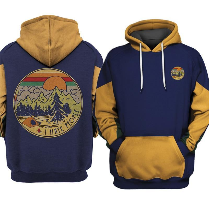 I hate people camping hoodie. Blue with brown sleeves. Tent and campsite with forest and mountains in the background.