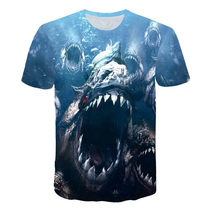 Children's fishing t-shirt, black and blue with big scary fish graphics.