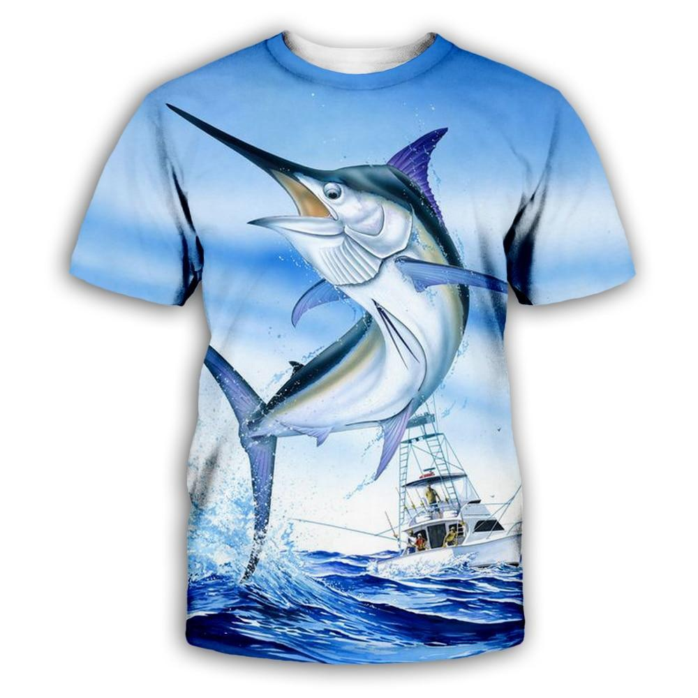 Marlin fishing t-shirt. Blue marlin jumping with fishing boat in background.