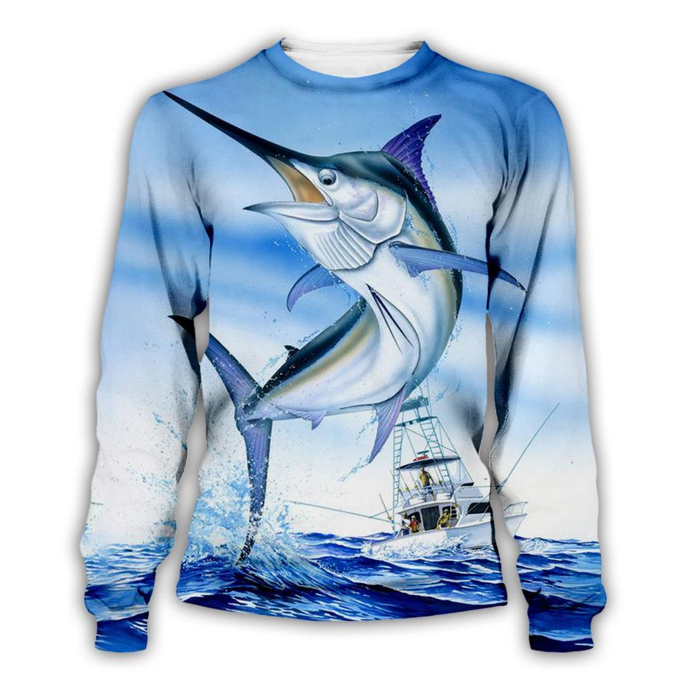 Marlin fishing sweatshirt. Blue marlin jumping with fishing boat in background.