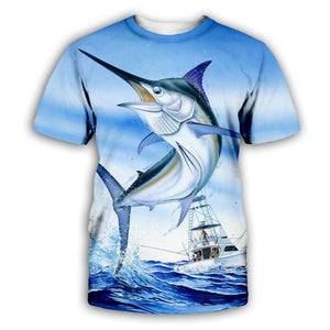 Marlin fishing shirt. Blue marlin jumping with fishing boat in background.