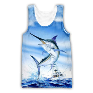 Marlin fishing tank top. Blue marlin jumping with fishing boat in background.