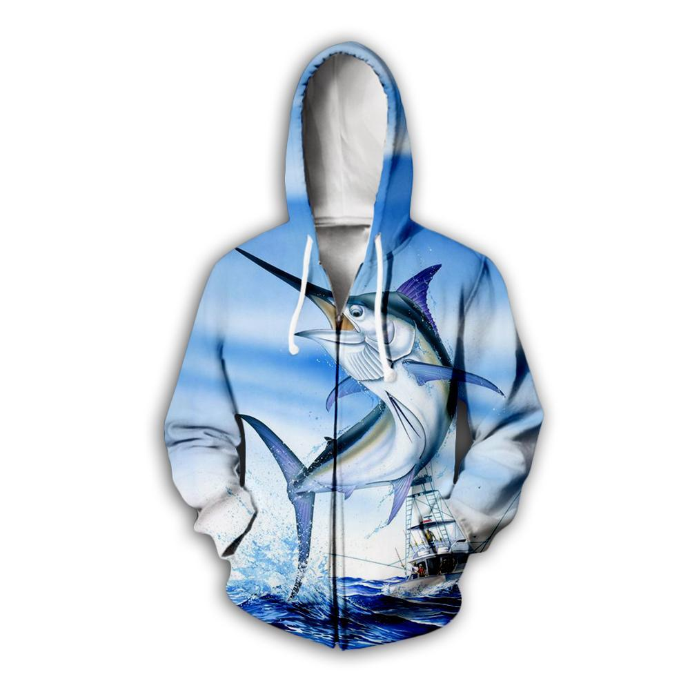 Marlin fishing zip up hoodie. Blue marlin jumping with fishing boat in background.