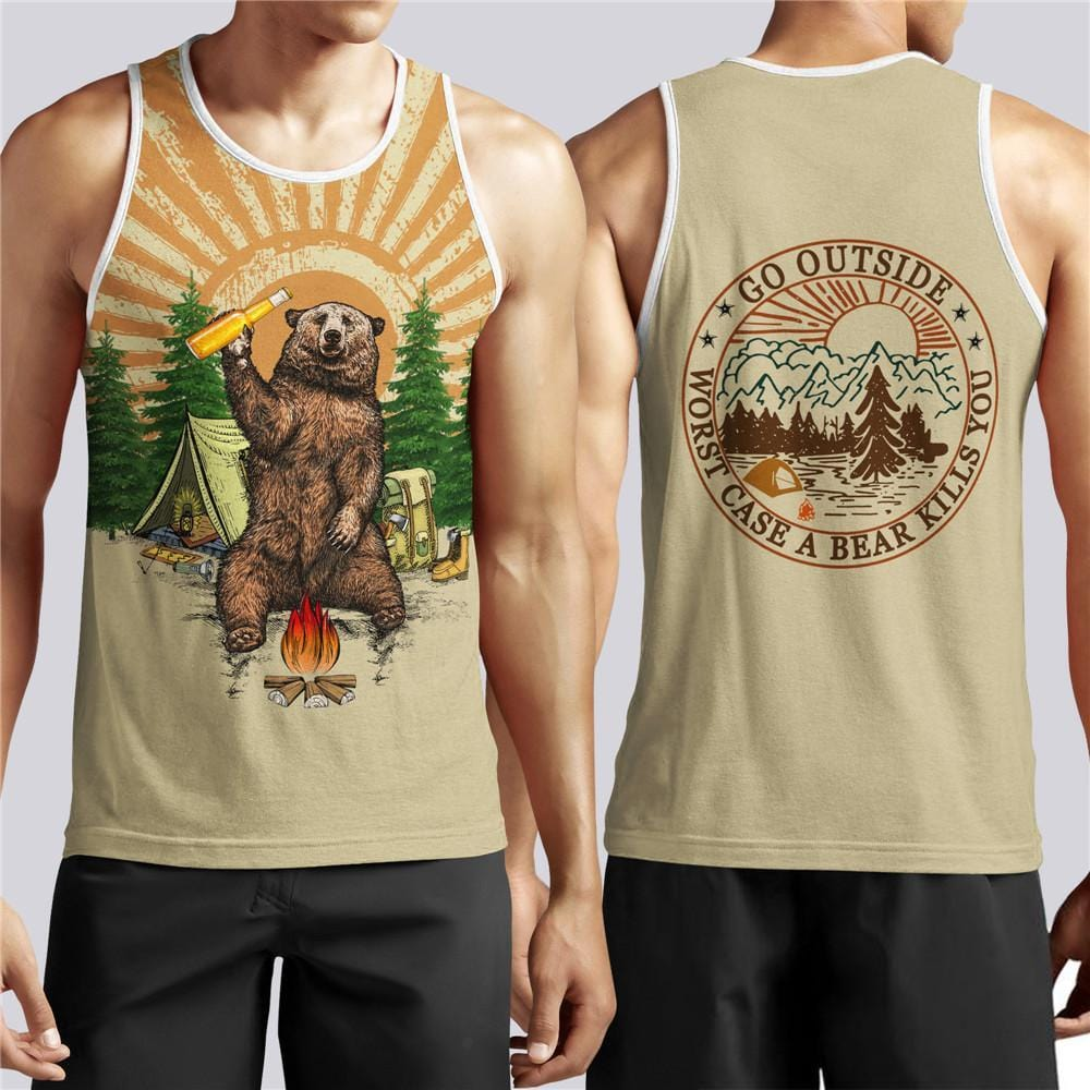Worst case a bear kill you singlet. Bear drinking beer around fire.