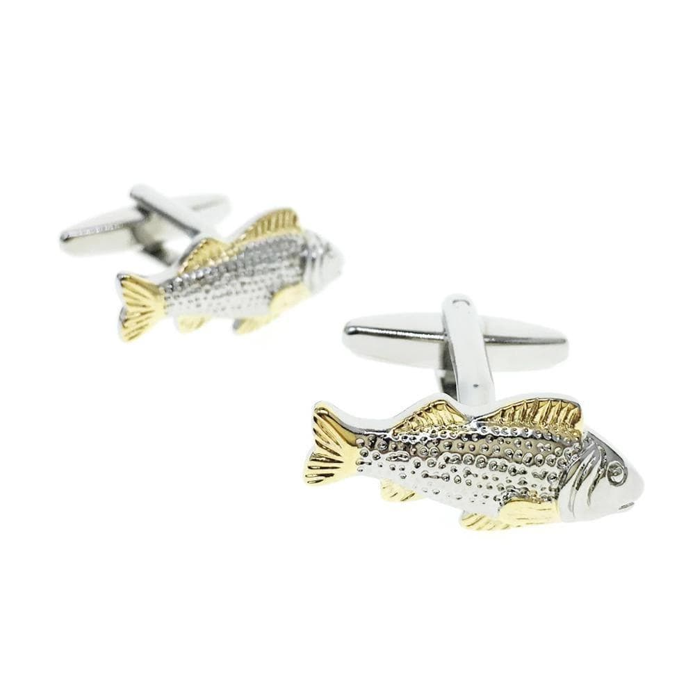 Cufflinks Gold Silver Fish