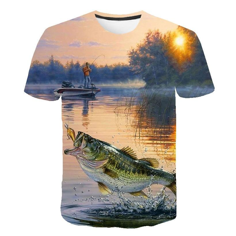 Kids fishing shirt. Man standing on boat about to catch a largemouth Bass fish.