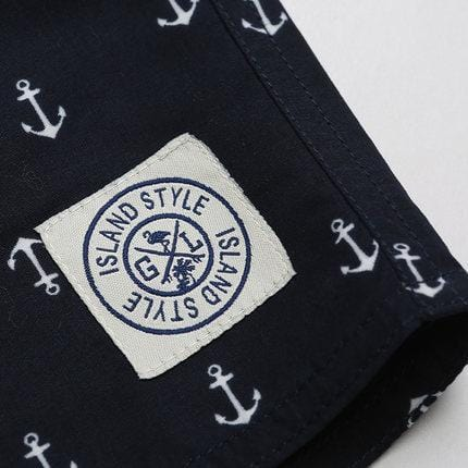 Island style logo on beach shorts.