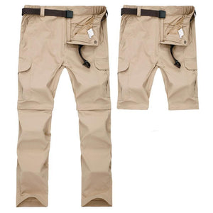Men's zip off at the knee fishing pants in khaki.