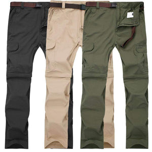 Men's pants that zip off at the knee so you can wear them as shorts. Available in black, green and khaki.