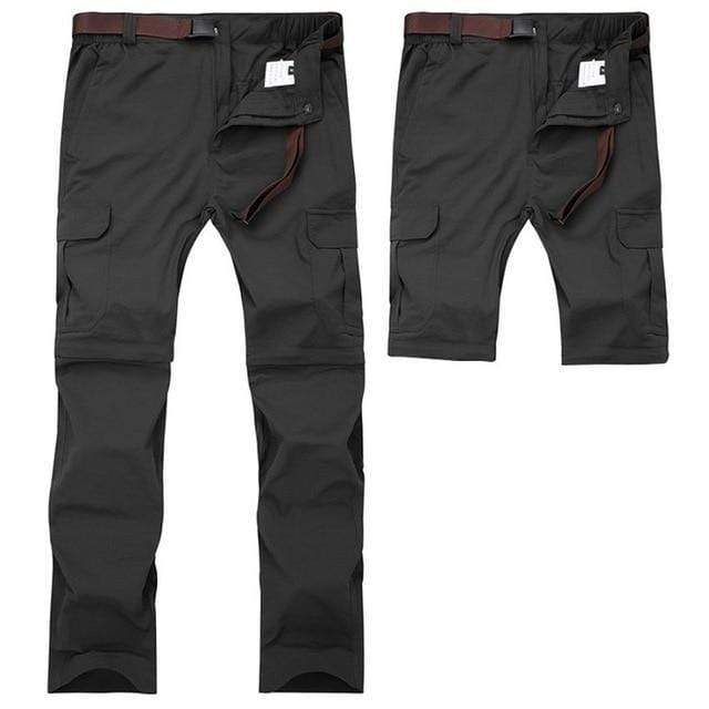 Men's zip off at the knee fishing pants in black.