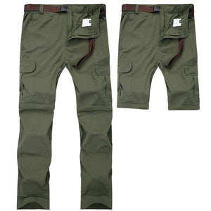Men's zip off at the knee fishing pants in green.