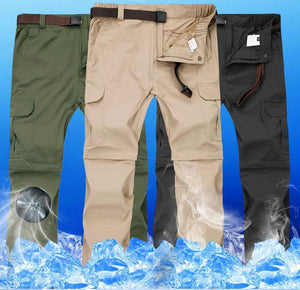 Men's cool fabric hiking pants that zip off at the knee in green, khaki and black.