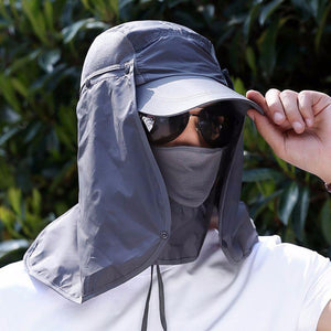 UV protection cap and hat with removable face and neck flaps.