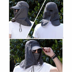 Sun protection hat with removable face and neck flaps.