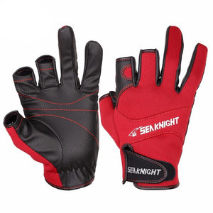 Red and black fishing gloves.
