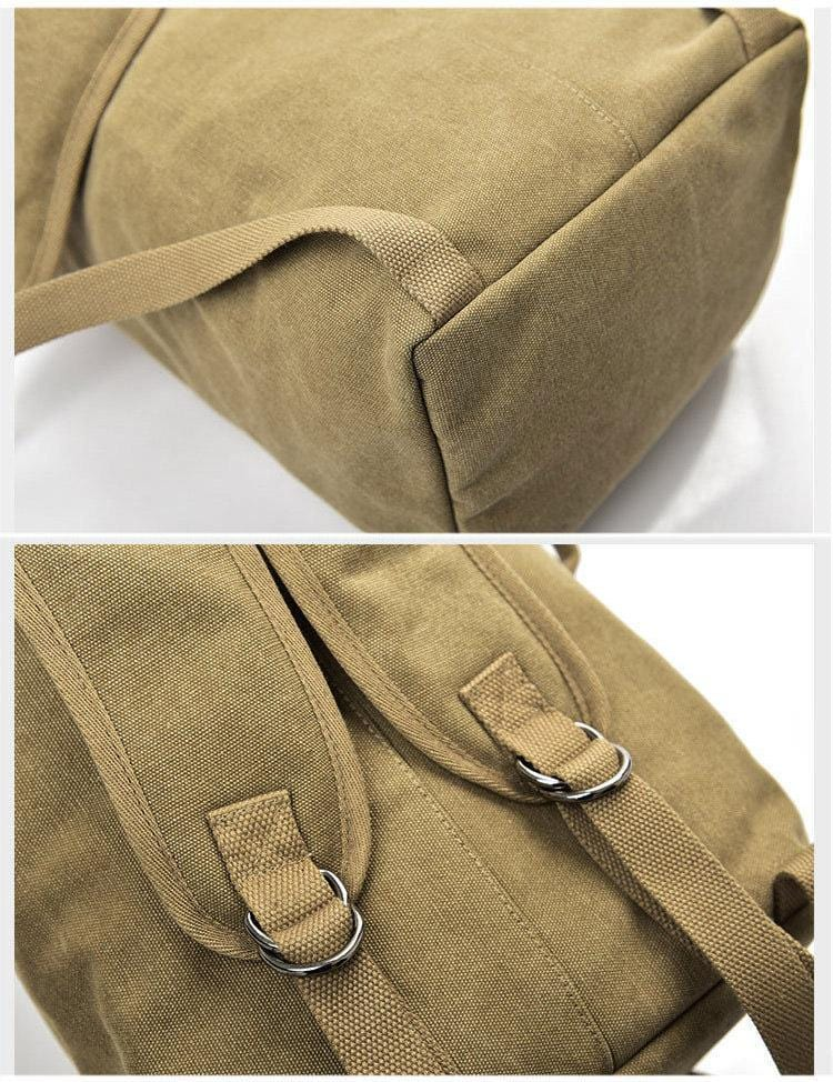 This canvas rucksack has adjustable backpack straps.