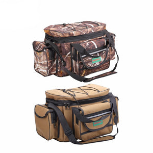 Multi-functional fishing bag in two colour options, khaki and camo.