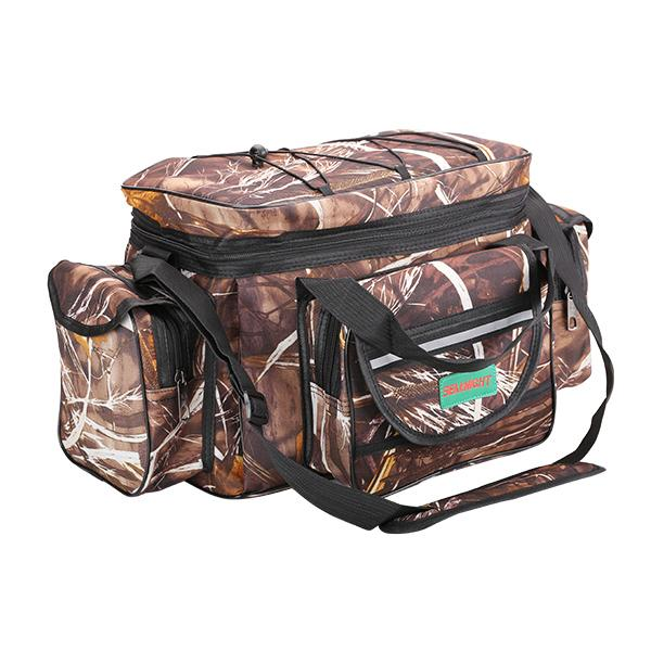 Camouflage, multi compartment fishing bag with shoulder strap.