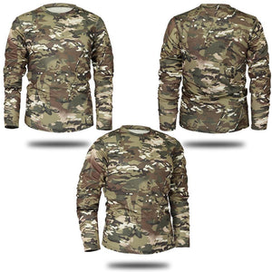 Camouflage long sleeve t-shirts.