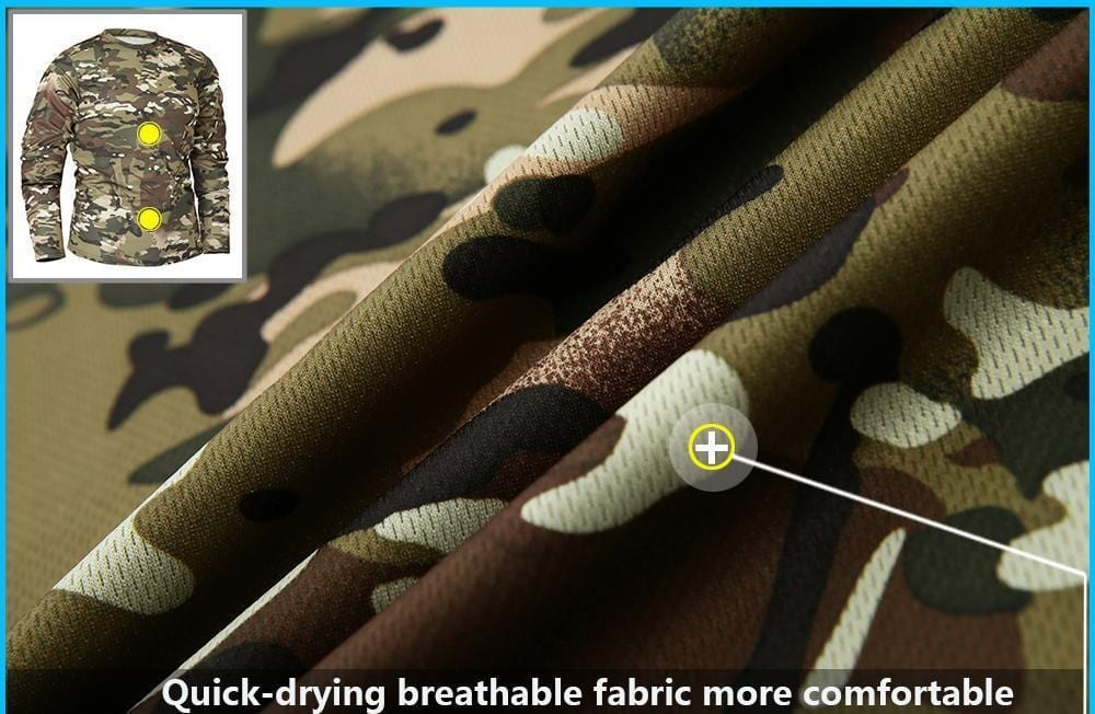 Camouflage fishing shirt material close up showing breathable fabric.