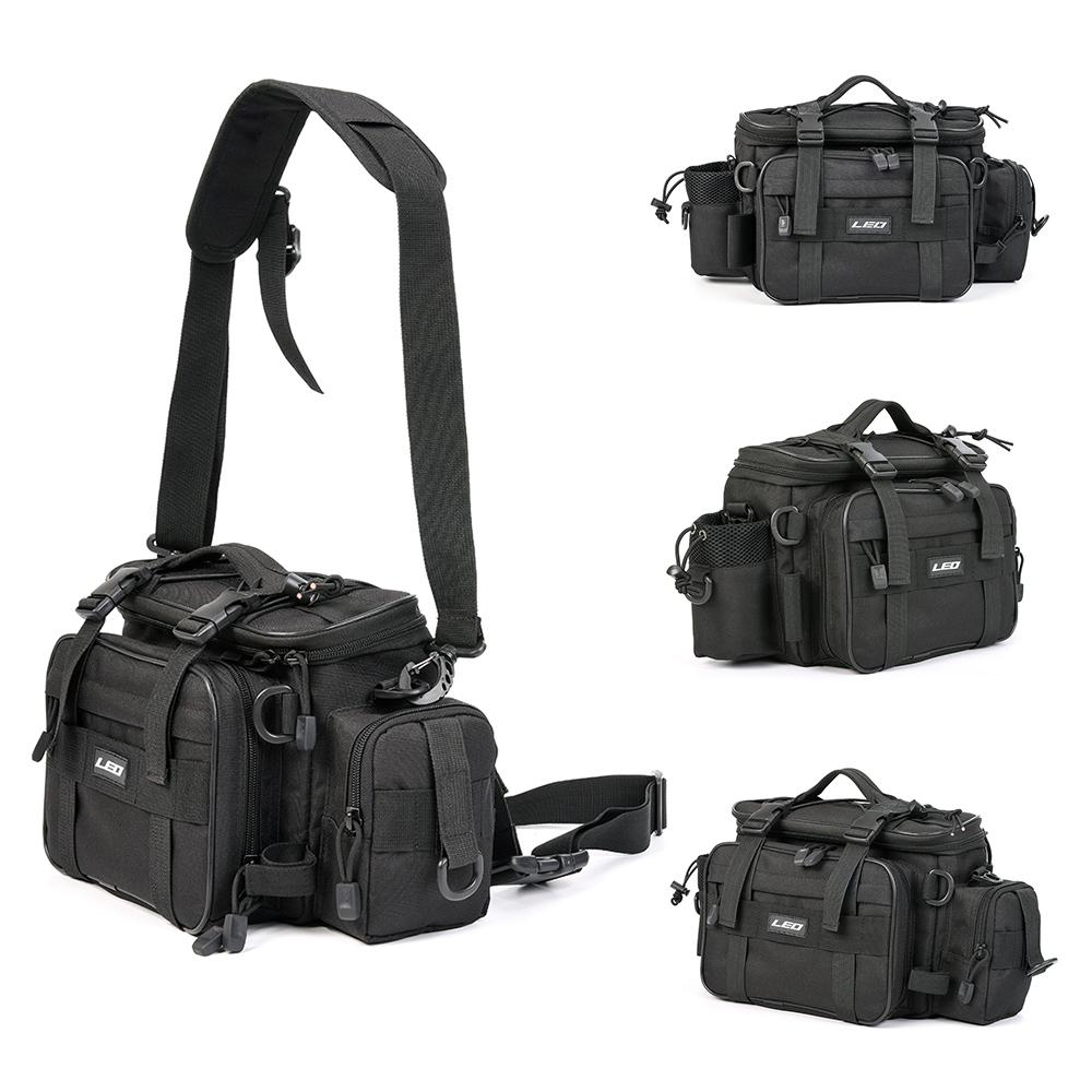 Multi functional fishing tackle bag with shoulder and waist strap support.
