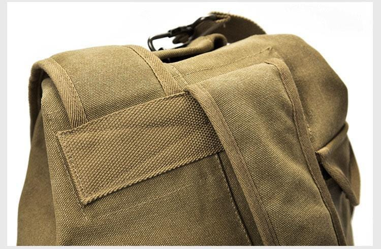 Showing durable stitching and quality craftsmanship done on the Khaki Canvas Rucksack.