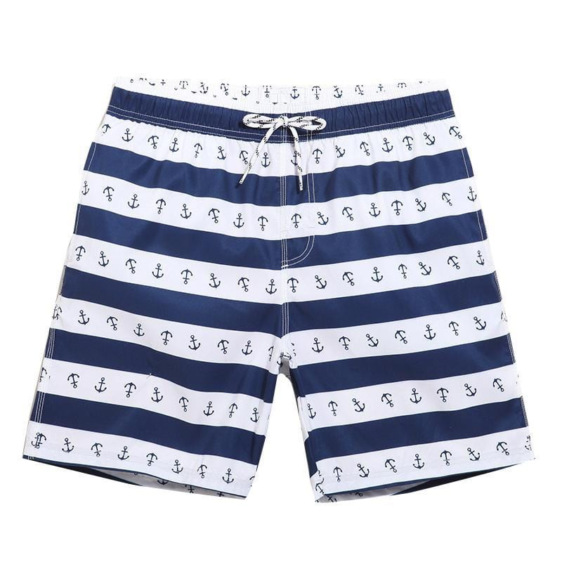 Guts Fishing Apparel - The Boatmen Beach Shorts in blue and white stripe with a blue anchor print.