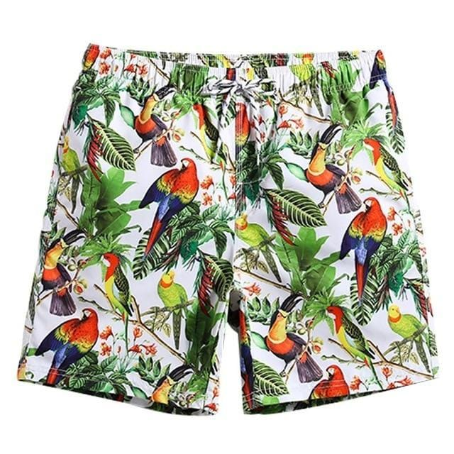 Guts Fishing Apparel - Men's floral and bird print beach shorts