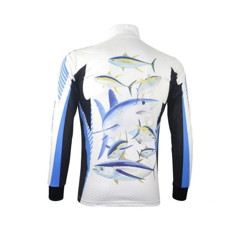 Long sleeve fishing shirt with zip collar.