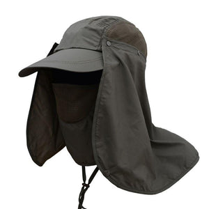 Grey UV protection cap with removable face and neck flaps.