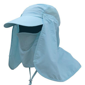 Light blue ladies UV protection cap with removable face and neck flaps.