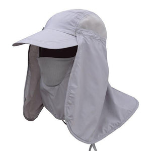 Unisex UV protection cap and hat with removable face and neck flaps.