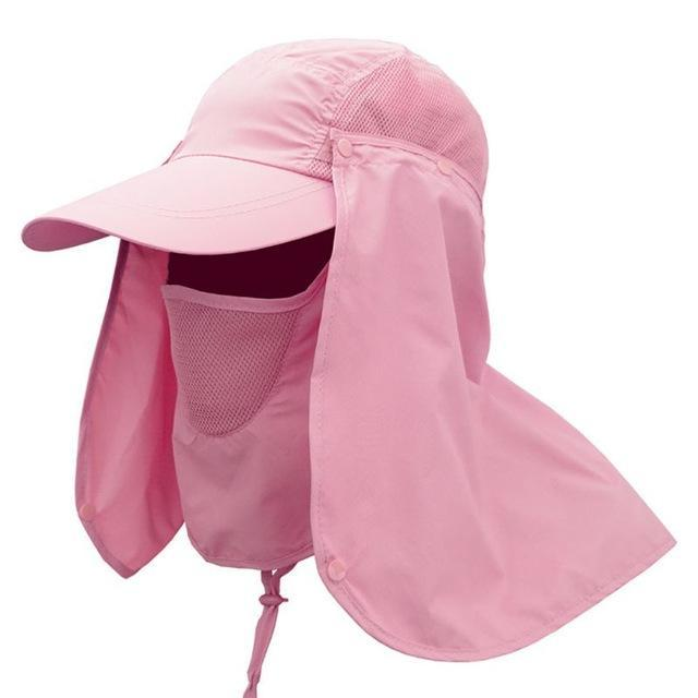 Pink UV protection hat for women with removable face and neck flaps.