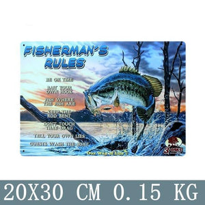 Fisherman's rules vintage tin metal sign and picture hang.